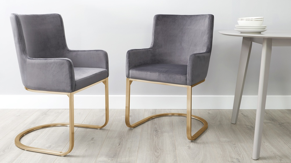 Form Grey Velvet and Brass Dining Chairs