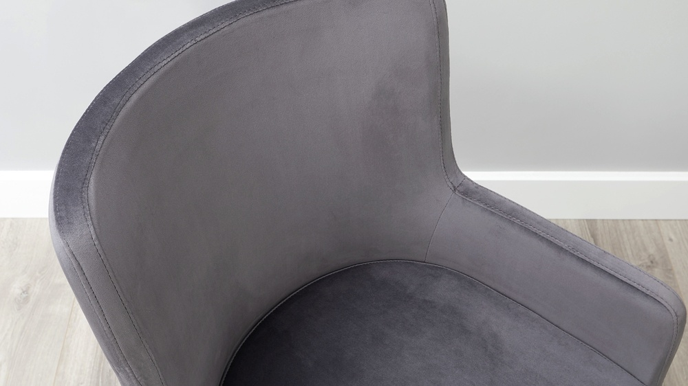 Form Grey Velvet and Brass Cantilever Dining Armchair