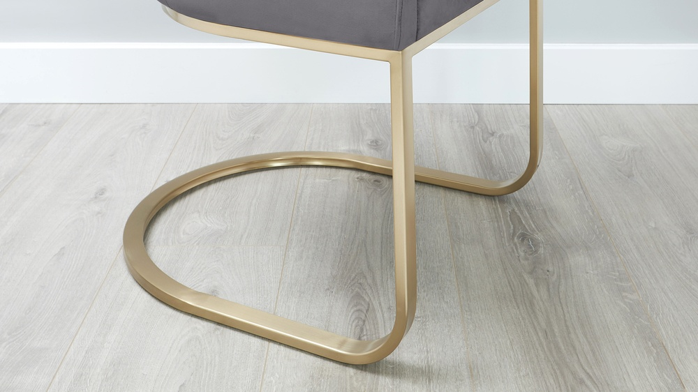 brass and grey velvet dining chair