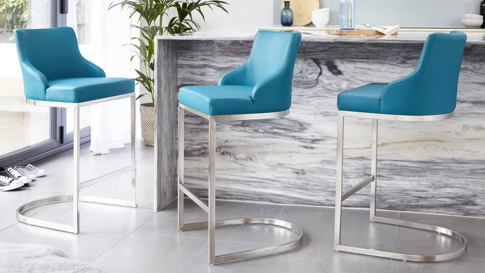Teal brushed steel bar stools