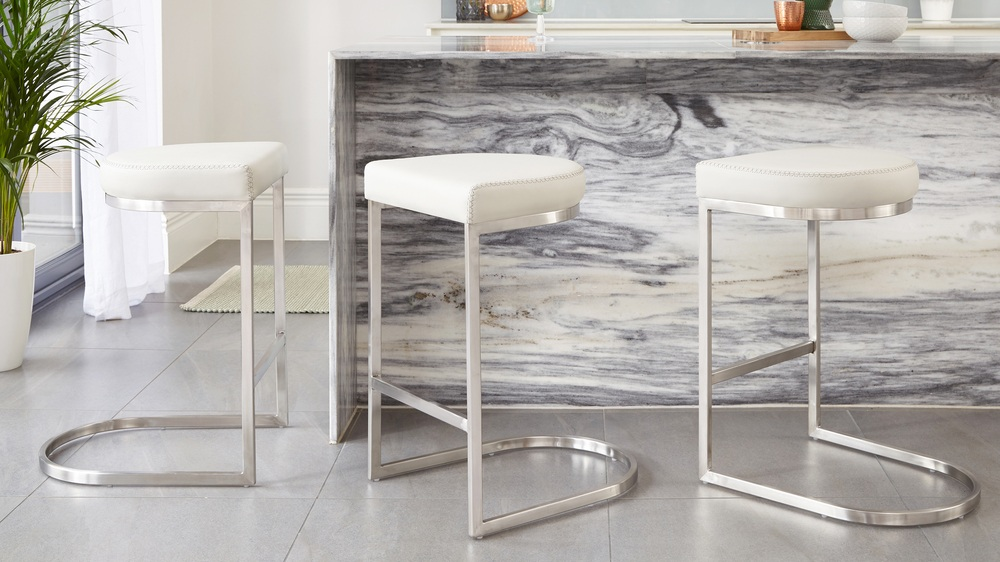 Cool grey Julia kendell modern stainless steel barstools