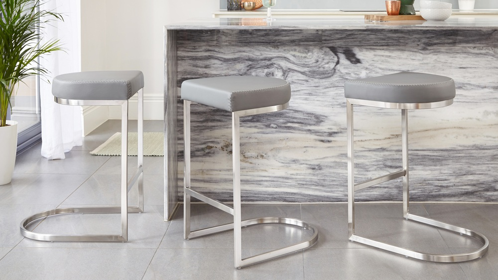 Graphite grey stainless steel simplistic bar stools