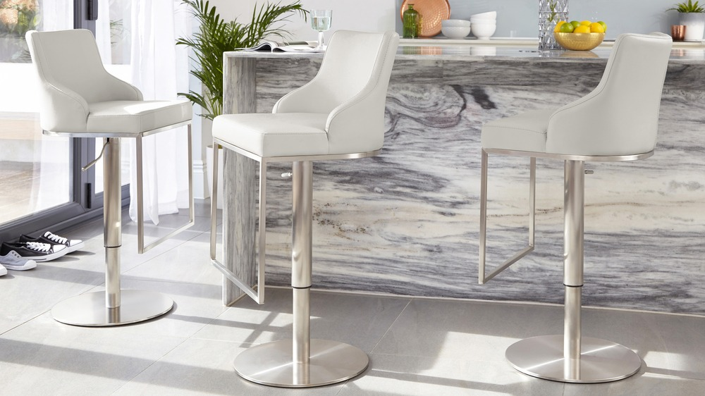 Cool grey gas lift bar stool