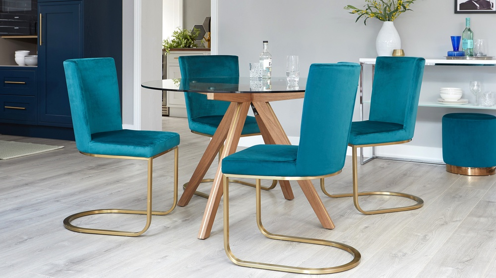 Teal velvet cantilever dining chair