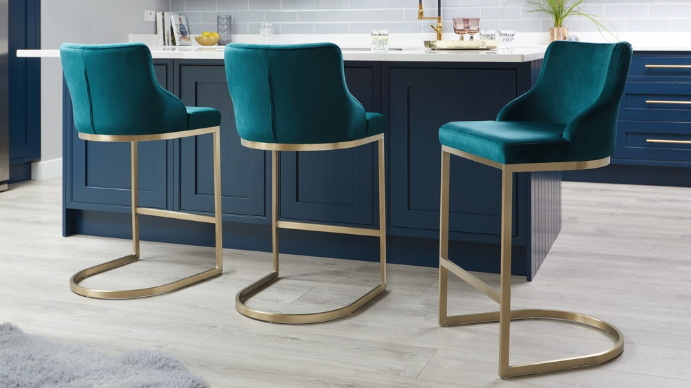 velvet and brass stools modern