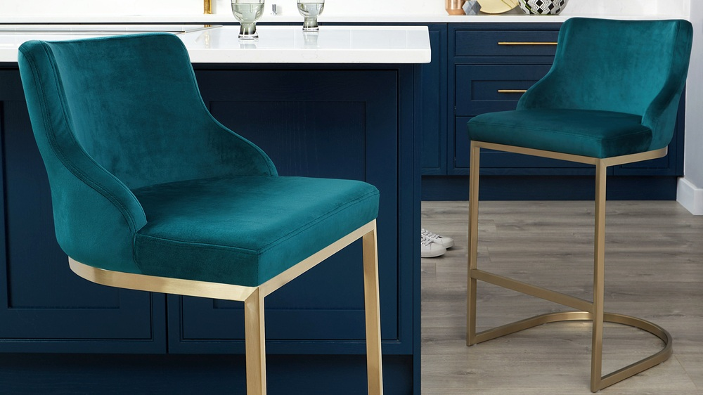 Form Velvet And Brass Bar Stool With Backrest Danetti