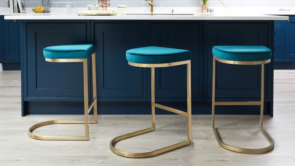 Velvet and brass barstool