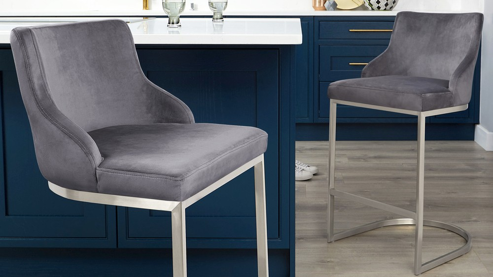 Velvet bar stools with backrest