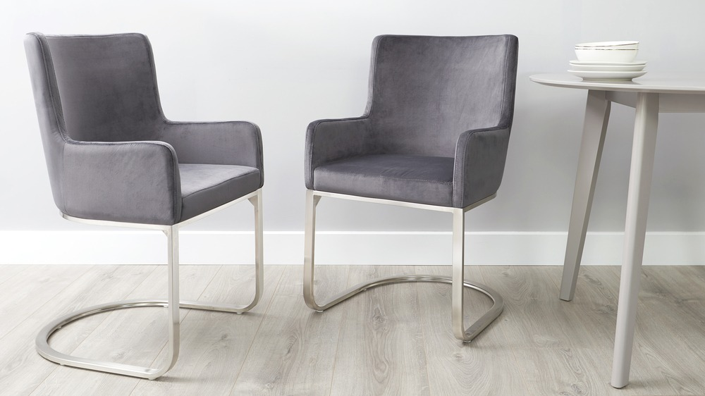 Grey velvet dining armchairs