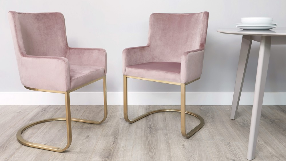 Blush pink large velvet dining chairs