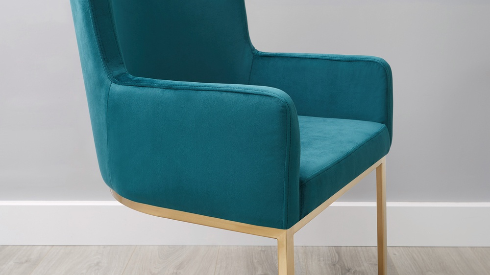 Large cantilever velvet armchairs