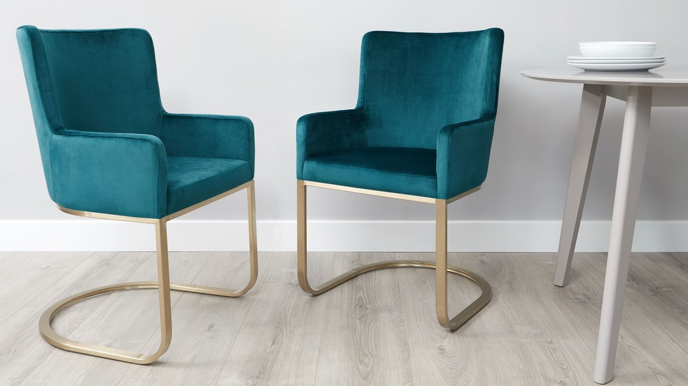 form velvet cantilever dining armchair brushed brass 9