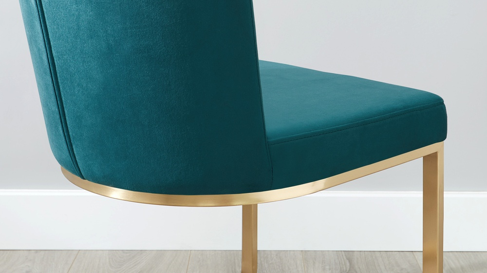 Form Cantilever Velvet Amp Brushed Brass Dining Chair Danetti