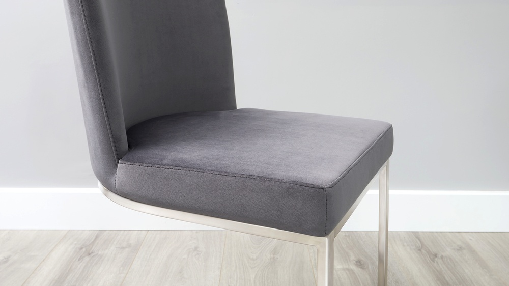Cantilever velvet dining chair