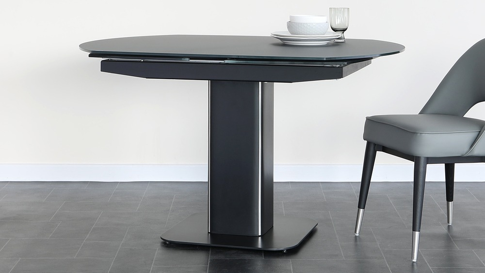 Fraser dark grey glass dining table
