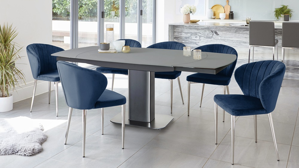 grey glass extending table