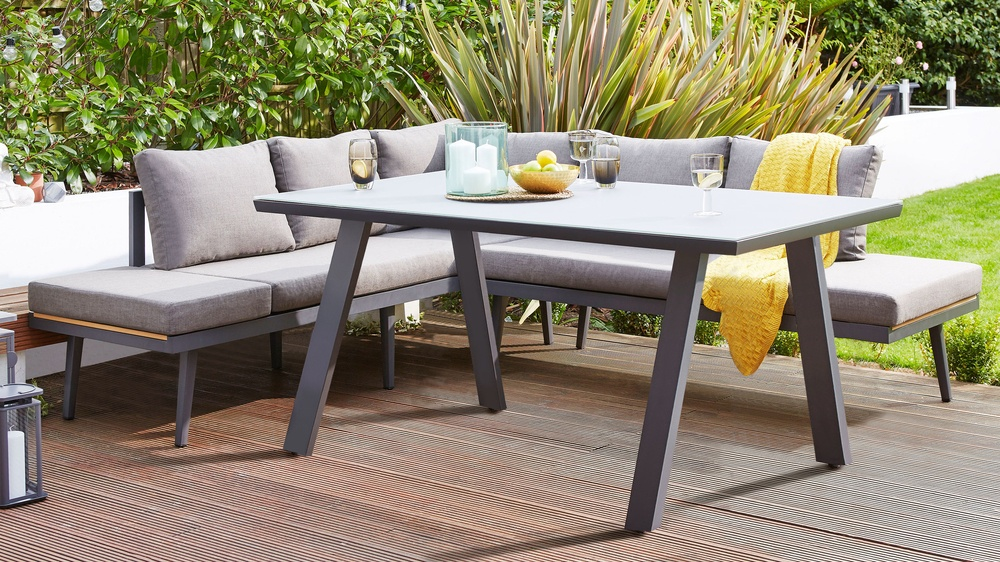 Grey trestle leg outdoor table
