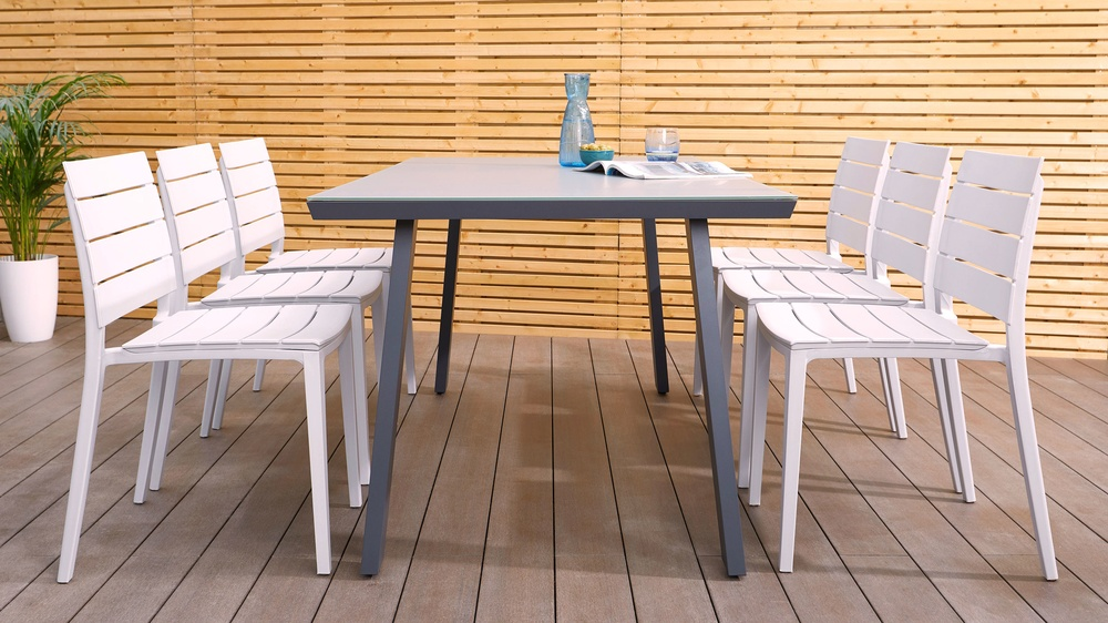 Outdoor glass grey trestle table