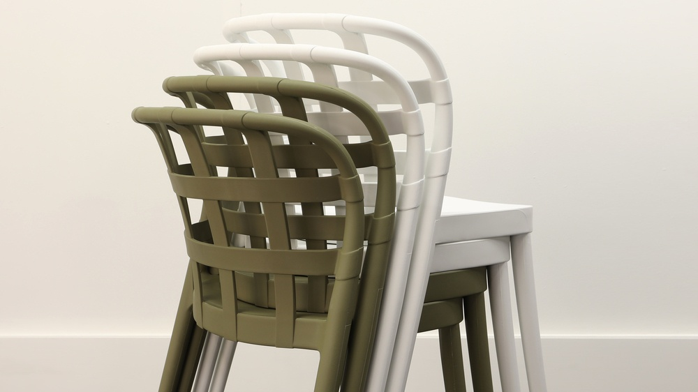 Stackable modern garden chairs