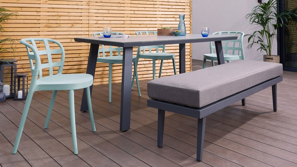 6 stear grey glass outdoor table
