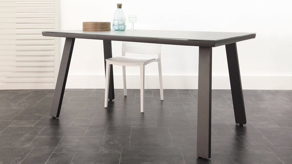Dark grey frosted glass trestle outdoor table