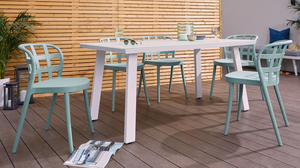 Fresco white trestle table with aqua skye chairs