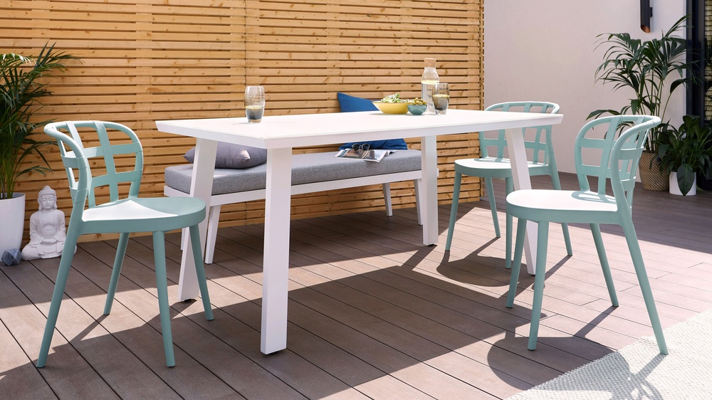 6-8 seater modern outdoor chair and bench set