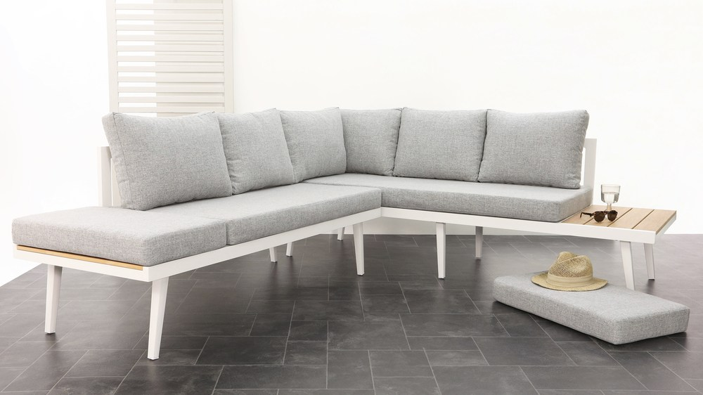 Large white comfortable outdoor bench