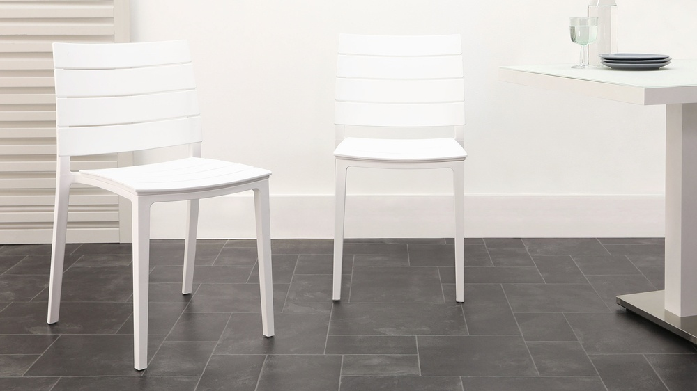 White stacking edie chair