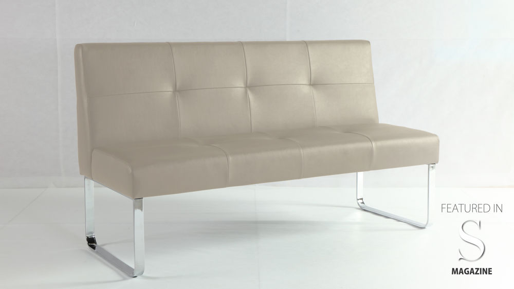 Beige Dining Bench with Backrest