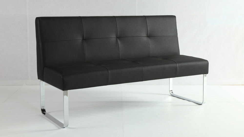 Large Black Dining Bench with Backrest