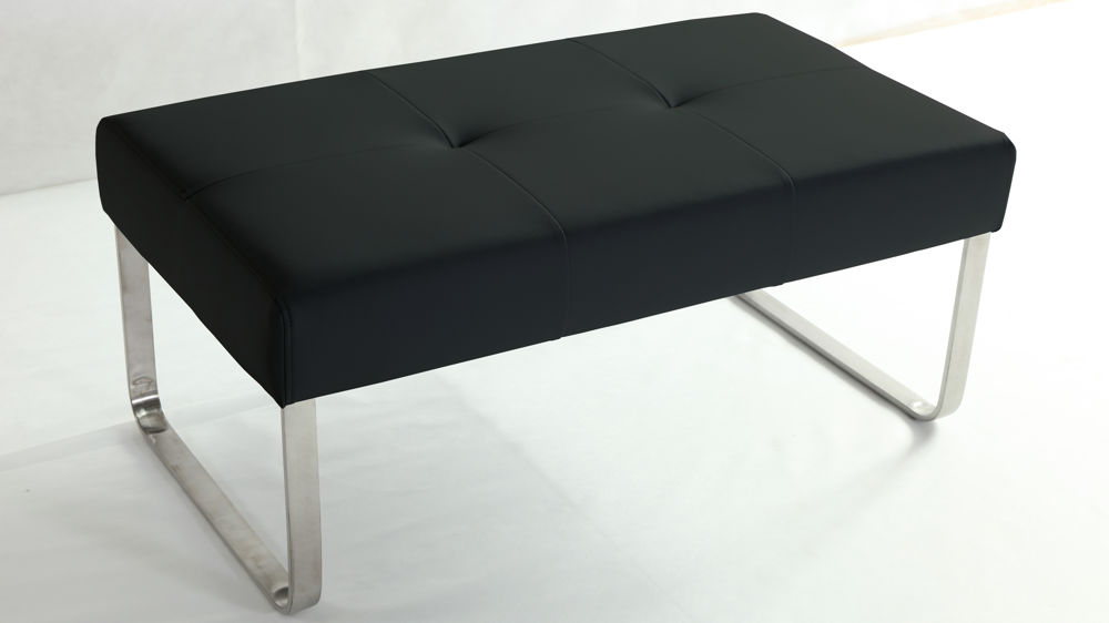 Black Leather Dining Bench