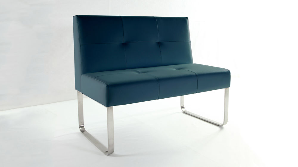 Dark Blue Dining Bench with Backrest