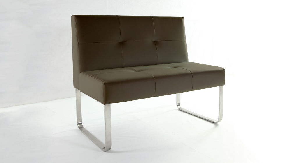Comfortable Dark Brown Dining Bench with Backrest