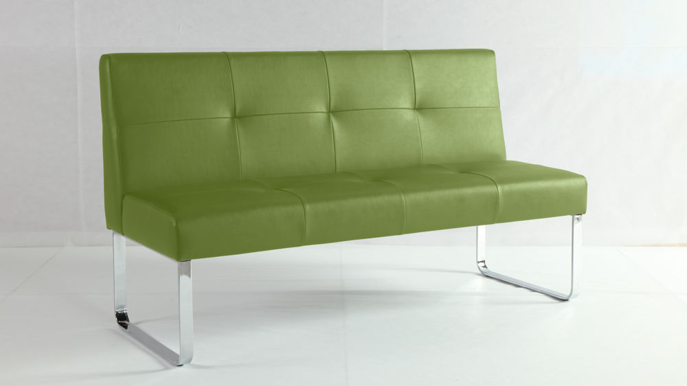 Funky Lime Green Dining Bench Quilted Seat And Backrest