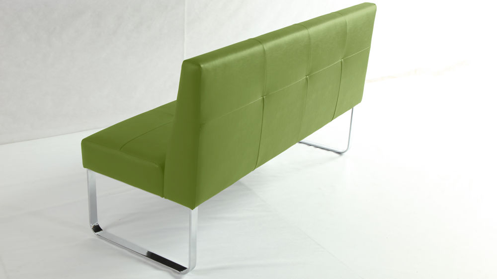 Modern Bright Green Dining Bench with Backrest