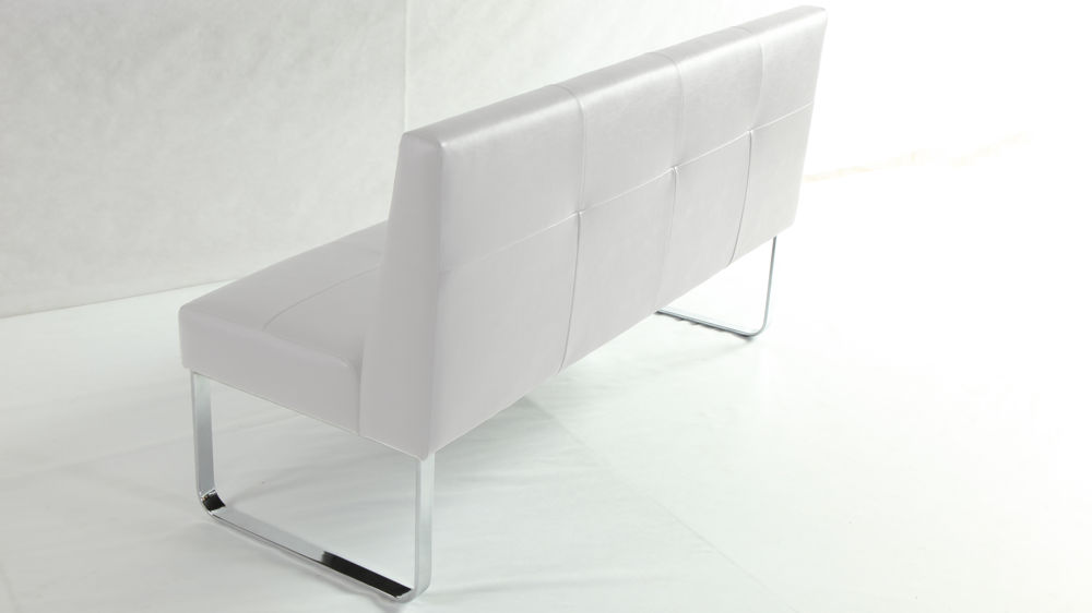 Large White Faux Leather Dining Bench with Backrest
