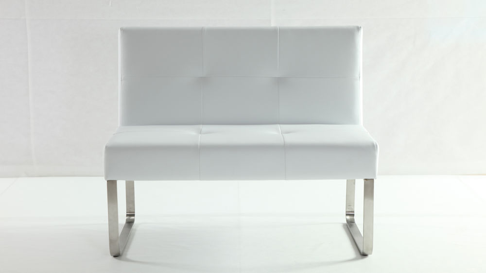 Comfortable White Dining Bench with Backrest