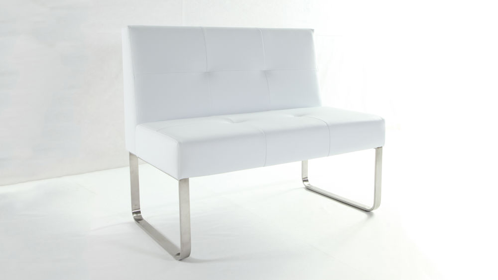 Modern White and Chrome Dining Bench