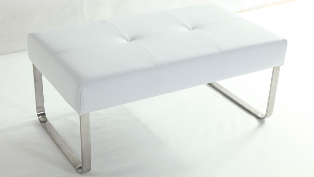 White Dining Bench Modern White Leather Bench Metal Legs