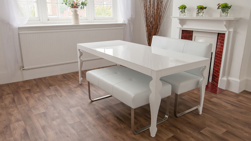 White Gloss and White Leather Dining Bench Set