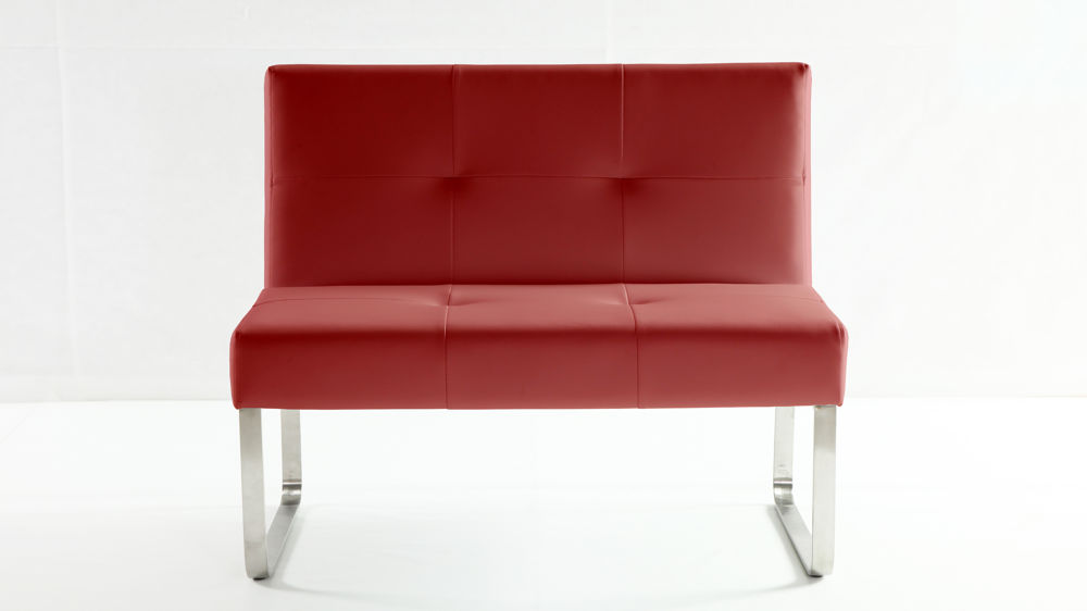 Modern Red Dining Bench With Backrest Chrome Or Brushed