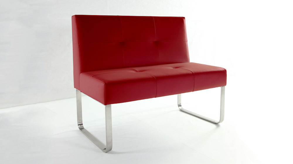 Modern Red Dining Bench With Backrest Chrome Or Brushed Metal Legs