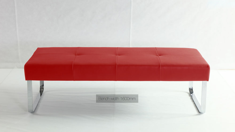 Modern Red Dining Bench Casual Dining Chrome Or Brushed Metal Legs