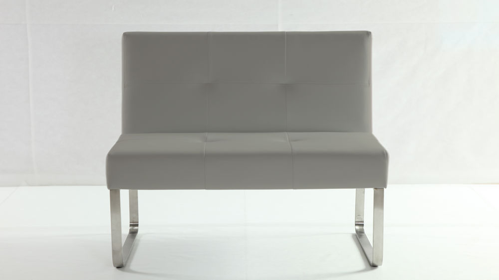 Grey Dining Bench with Backrest