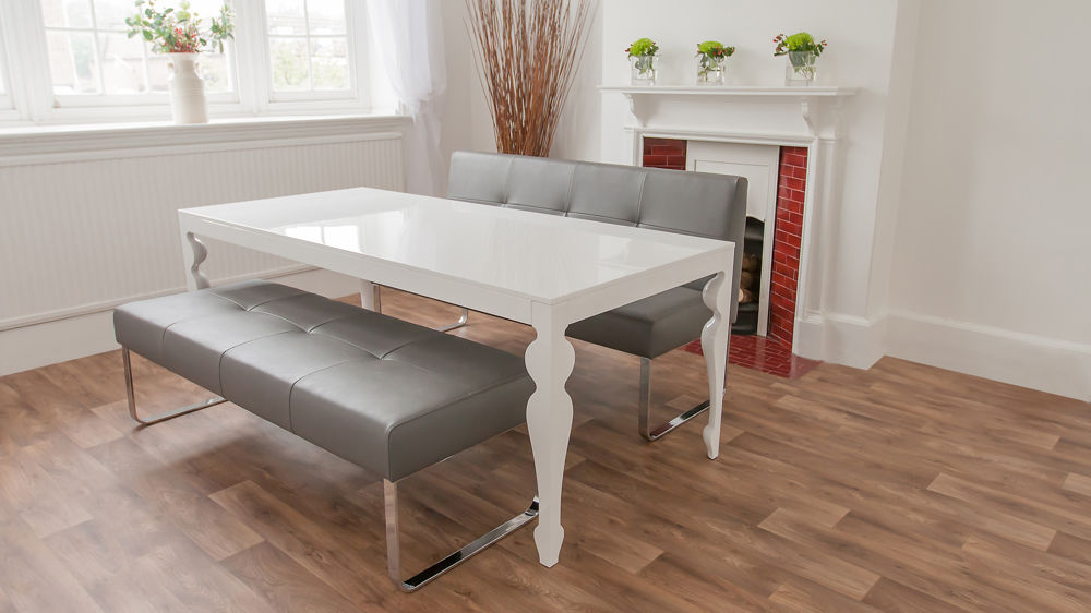 White Gloss Dining Table and Grey Dining Bench