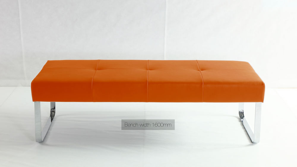 Modern Orange Dining Bench Open Plan Chrome Or Brushed