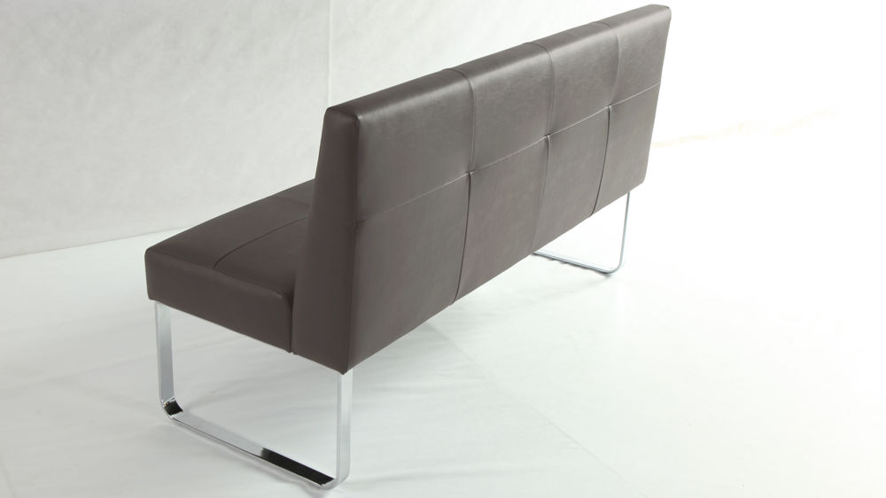 Modern Taupe Dining Bench with Backrest
