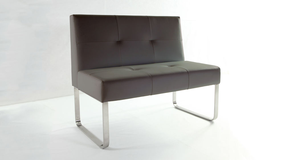 Taupe Dining Bench with Chrome Legs