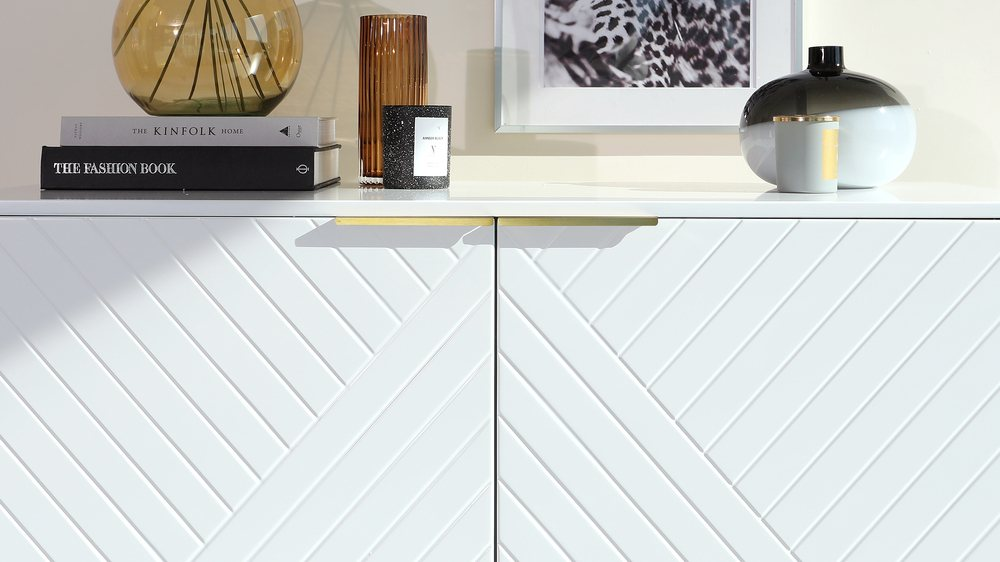white and brass sideboard